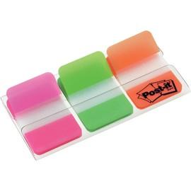 Haftstreifen Post-it Index Strong 25,4x38mm 3 Leuchtfarben transparent 3M 686-PGO (PACK=3x 22 STÜCK) Produktbild