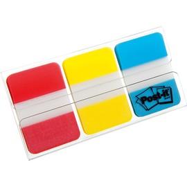 Haftstreifen Post-it Index Strong 25,4x38mm 3 Grundfarben transparent 3M 686-RYB (PACK=3x 22 STÜCK) Produktbild