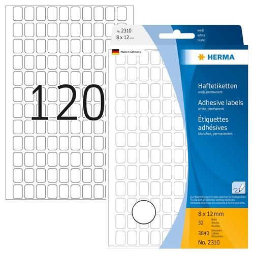 Vielzweck-Etiketten für Handbeschriftung 8x12mm weiß Herma 2310 (PACK=3840 STÜCK) Produktbild