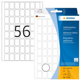 Vielzweck-Etiketten für Handbeschriftung 12x18mm weiß Herma 2340 (PACK=1792 STÜCK) Produktbild