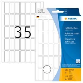Vielzweck-Etiketten für Handbeschriftung 12x30mm weiß Herma 2350 (PACK=1120 STÜCK) Produktbild