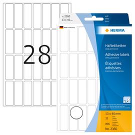 Vielzweck-Etiketten für Handbeschriftung 13x40mm weiß Herma 2360 (PACK=896 STÜCK) Produktbild