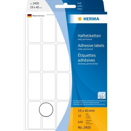 Vielzweck-Etiketten für Handbeschriftung 19x40mm weiß Herma 2400 (PACK=640 STÜCK) Produktbild Additional View 1 L