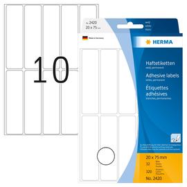 Vielzweck-Etiketten für Handbeschriftung 20x75mm weiß Herma 2420 (PACK=320 STÜCK) Produktbild