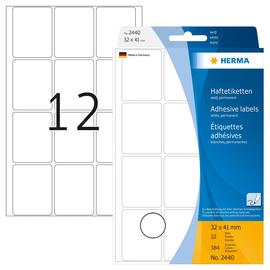 Vielzweck-Etiketten für Handbeschriftung 32x41mm weiß Herma 2440 (PACK=384 STÜCK) Produktbild