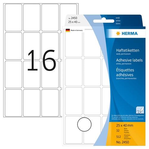 Vielzweck-Etiketten für Handbeschriftung 25x40mm weiß Herma 2450 (PACK=512 STÜCK) Produktbild