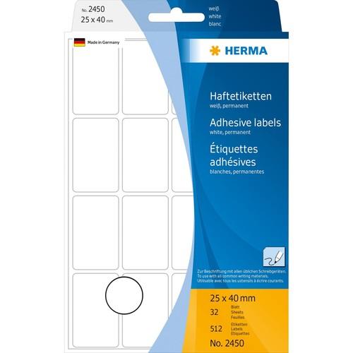 Vielzweck-Etiketten für Handbeschriftung 25x40mm weiß Herma 2450 (PACK=512 STÜCK) Produktbild Additional View 1 L