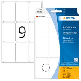 Vielzweck-Etiketten für Handbeschriftung 34x53mm weiß Herma 2470 (PACK=288 STÜCK) Produktbild