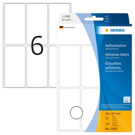 Vielzweck-Etiketten für Handbeschriftung 34x67mm weiß Herma 2480 (PACK=192 STÜCK) Produktbild