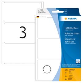 Vielzweck-Etiketten für Handbeschriftung 52x100mm weiß Herma 2500 (PACK=96 STÜCK) Produktbild