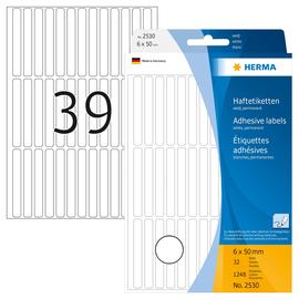 Vielzweck-Etiketten für Handbeschriftung 6x50mm weiß Herma 2530 (PACK=1248 STÜCK) Produktbild