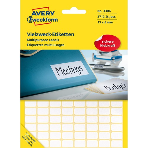 Mini-Etiketten für Handbeschriftung 13x8mm weiß Zweckform 3306 (PACK=3712 STÜCK) Produktbild