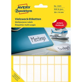 Mini-Etiketten für Handbeschriftung 38x14mm weiß Zweckform 3323 (PACK=928 STÜCK) Produktbild