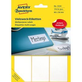 Universal-Etiketten für Handbeschriftung 66x38mm weiß Zweckform 3334 (PACK=174 STÜCK) Produktbild