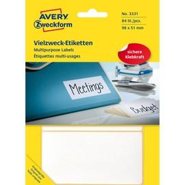 Universal-Etiketten für Handbeschriftung 98x51mm weiß Zweckform 3331 (PACK=84 STÜCK) Produktbild