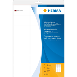 Adress-Etiketten für Handbeschriftung 70x42mm auf A4 Bögen weiß Herma 4441 (PACK=420 STÜCK) Produktbild