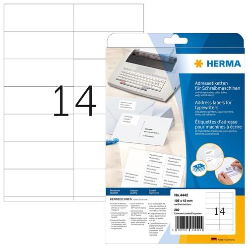 Adress-Etiketten für Handbeschriftung 105x42mm auf A4 Bögen weiß Herma 4442 (PACK=280 STÜCK) Produktbild Front View L