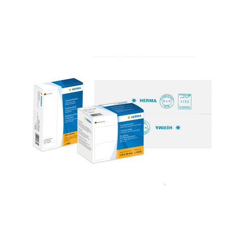 Frankieretiketten doppelt 163x45mm weiß Herma 4329 (PACK=500 STÜCK) Produktbild Additional View 1 L