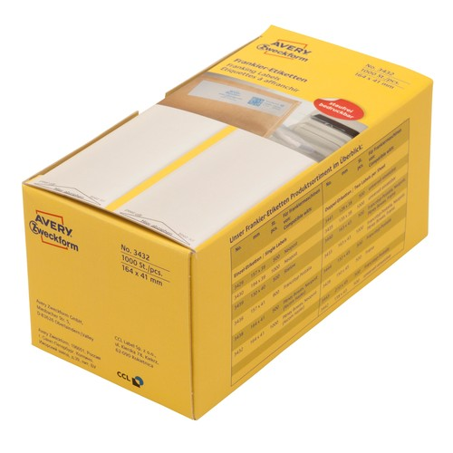 Frankieretiketten einzeln 168x44mm weiß Zweckform 3432 (PACK=1000 STÜCK) Produktbild