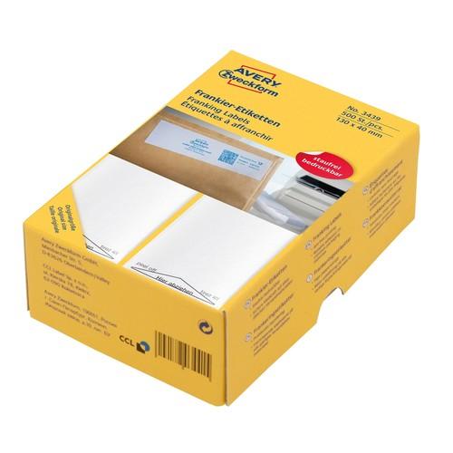 Frankieretiketten einzeln 130x40mm weiß Zweckform 3439 (PACK=500 STÜCK) Produktbild