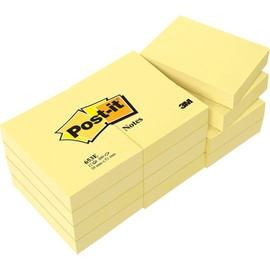 Haftnotizen Post-it Notes 38x51mm gelb Papier 3M 653E (PACK=12x 100 BLATT) Produktbild