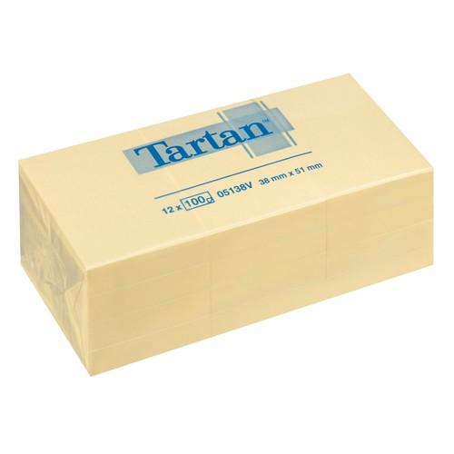 Haftnotizen Tartan Notes 38x51mm gelb Papier 3M 005138 (PACK=12x 100 BLATT) Produktbild Front View L