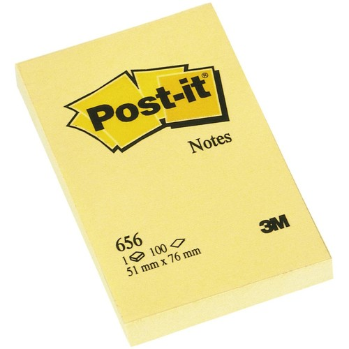 Haftnotizen Post-it Notes 51x76mm gelb Papier 3M 656 (ST=100 BLATT) Produktbild