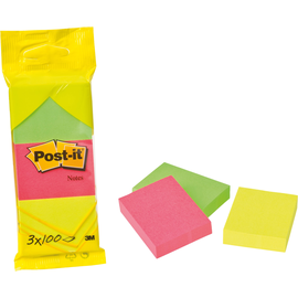 Haftnotizen Post-it Notes 38x51mm neonfarben Papier 3M 6812N (PACK=3x 100 BLATT) Produktbild
