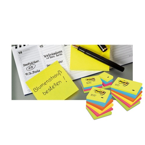Haftnotizen Post-it Notes 76x76mm neonorange Papier 3M 654NOR (ST=100 BLATT) Produktbild Additional View 6 L
