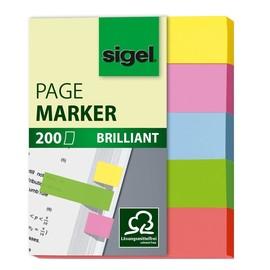 Haftmarker Brilliant Mini 50x12mm 5 Grundfarben Papier Sigel HN625 (PACK=5x 40 STÜCK) Produktbild