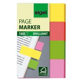 Haftmarker Brillant 50x20mm 4 Grundfarben Papier Sigel HN630 (PACK=4x 40 STÜCK) Produktbild