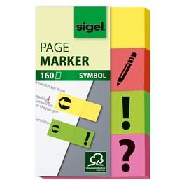 Haftmarker Symbole 50x20mm 4 Farben verschiedene Zeichen Papier Sigel HN635 (PACK=4x 40 STÜCK) Produktbild