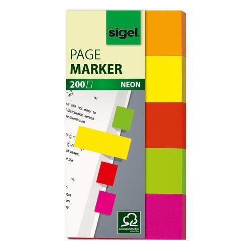 Haftmarker Neon 50x20mm 5 Neonfarben Papier Sigel HN650 (PACK=5x 40 STÜCK) Produktbild