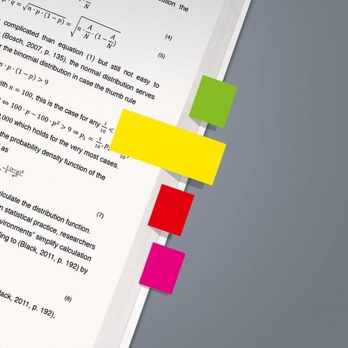 Haftmarker Neon 50x20mm 5 Neonfarben Papier Sigel HN650 (PACK=5x 40 STÜCK) Produktbild Additional View 2 L