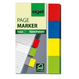 Haftmarker Pergament 50x20mm 4 Farben transparent Sigel HN670 (PACK=4x 40 STÜCK) Produktbild