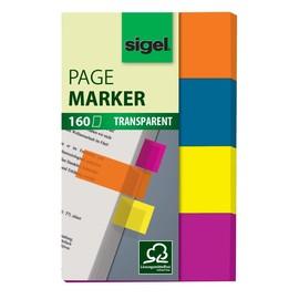 Haftmarker Film 50x20mm 4 Leuchtfarben transparent Sigel HN614 (PACK=4x 40 STÜCK) Produktbild