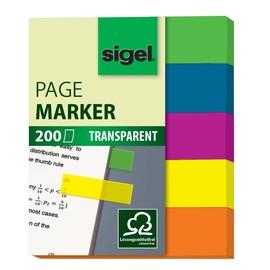 Haftmarker Film Mini 50x12mm 5 Leuchtfarben transparent Sigel HN615 (PACK=5x 40 STÜCK) Produktbild