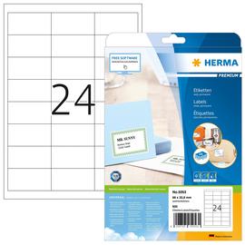 Etiketten PREMIUM Inkjet+Laser+Kopier 66x33,8mm auf A4 Bögen weiß permanent Herma 5053 (PACK=600 STÜCK) Produktbild