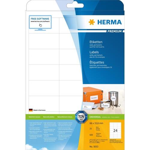 Etiketten PREMIUM Inkjet+Laser+Kopier 66x33,8mm auf A4 Bögen weiß permanent Herma 5053 (PACK=600 STÜCK) Produktbild Additional View 1 L