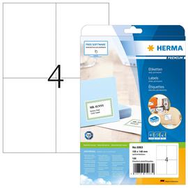 Etiketten PREMIUM Inkjet+Laser+Kopier 105x148,5mm auf A4 Bögen weiß permanent Herma 5063 (PACK=100 STÜCK) Produktbild