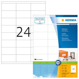 Etiketten PREMIUM Inkjet+Laser+Kopier 70x35mm auf A4 Bögen weiß permanent Herma 4429 (PACK=2400 STÜCK) Produktbild