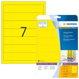 Rückenschilder zum Bedrucken 38x192mm kurz schmal auf A4 Bögen gelb selbstklebend Herma 5091 (PACK=140 STÜCK) Produktbild
