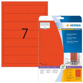 Rückenschilder zum Bedrucken 38x192mm kurz schmal auf A4 Bögen rot selbstklebend Herma 5092 (PACK=140 STÜCK) Produktbild