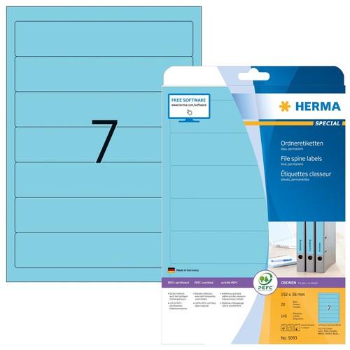 Rückenschilder zum Bedrucken 38x192mm kurz schmal A4 Bögen blau selbstklebend Herma 5093 (PACK=140 STÜCK) Produktbild
