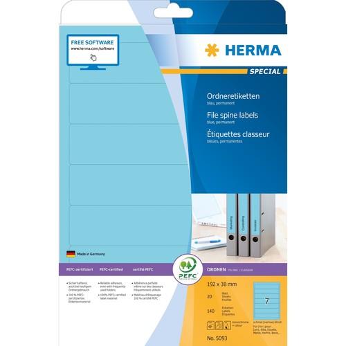 Rückenschilder zum Bedrucken 38x192mm kurz schmal A4 Bögen blau selbstklebend Herma 5093 (PACK=140 STÜCK) Produktbild Additional View 1 L