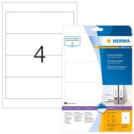 Rückenschilder zum Bedrucken 61x192mm kurz breit auf A4 Bögen  weiß selbstklebend Herma 5095 (PACK=100 STÜCK) Produktbild