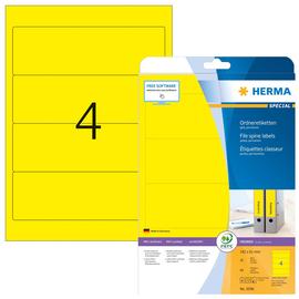 Rückenschilder zum Bedrucken 61x192mm kurz breit auf A4 Bögen gelb selbstklebend Herma 5096 (PACK=80 STÜCK) Produktbild