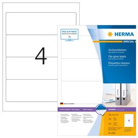 Rückenschilder zum Bedrucken 61x192mm kurz breit auf A4 Bögen weiß selbstklebend Herma 4284 (PACK=400 STÜCK) Produktbild