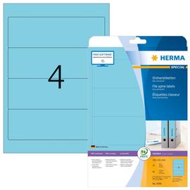Rückenschilder zum Bedrucken 61x192mm kurz breit auf A4 Bögen blau selbstklebend Herma 5098 (PACK=80 STÜCK) Produktbild
