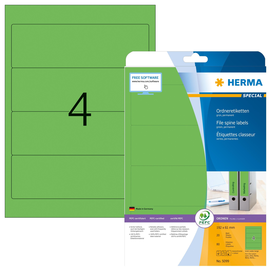 Rückenschilder zum Bedrucken 61x192mm kurz breit auf A4 Bögen grün selbstklebend Herma 5099 (PACK=80 STÜCK) Produktbild